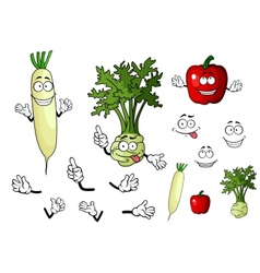 Turnip radish and pepper vegetables vector