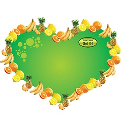 Tropical fruit label  heart vector