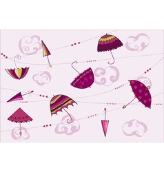 Umbrellas hanging on the rope vector