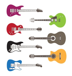 Silhouettes of acoustic and electric guitars vector
