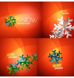 Modern abstract christmas card set vector