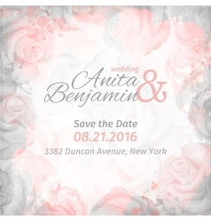 Invitation to the wedding abstract romantic rose vector