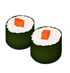Salmon sushi roll or salmon maki isolated on white vector