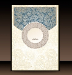 Blue and gold paisley envelope vector