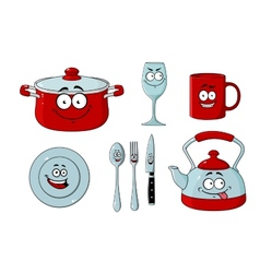 Cartoon dishware and kitchenware set vector