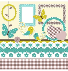 Vintage scrapbook elements vector