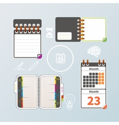 Colorful notebook and calendar set vector