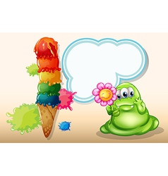 A giant icecream near the monster with a flower vector