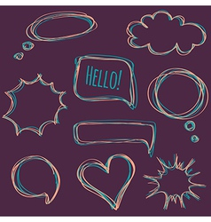 Set of hand-drawn speech bubbles vector