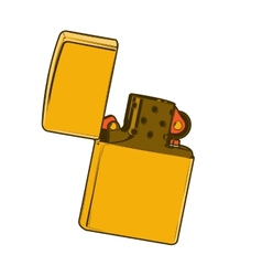Golden zippo lighter vector