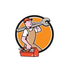 Mechanic carrying spanner toolbox circle cartoon vector