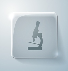 Microscope glass square icon with highlights vector