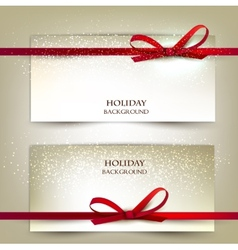 Set of two elegant gift cards with red ribbons vector
