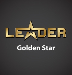 Leader golden star inscription icon vector