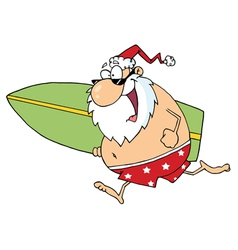 Santa running on a beach with a surfboard vector
