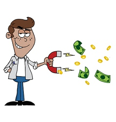 Man collecting cash with a money magnet vector