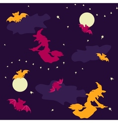 Witches and bats halloween seamless background vector