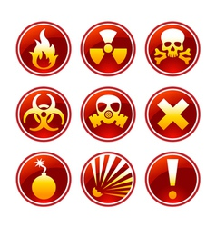 Round warning icons vector