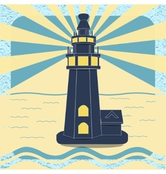 Poster with the lighthouse in vintage style vector