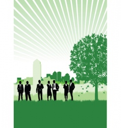 Cityscape meadow people vector