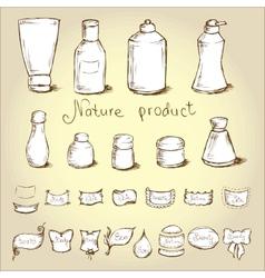 Set bottles tubes and them label vector