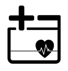 Medicine icon with heart and cross vector