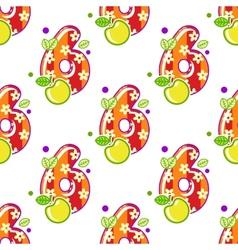 Cartoon number six seamless pattern vector