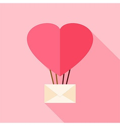 Heart shaped air balloon with envelope vector