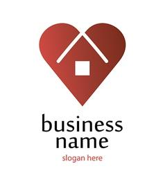 Logo heart home vector
