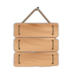 Wooden sign board with rope hanging on a nail - vector