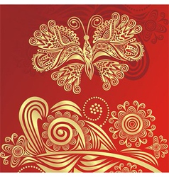 Floral pattern background and butterfly vector