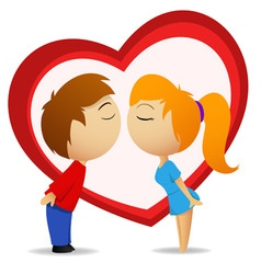 Boy and girl going to kiss with heart shape vector