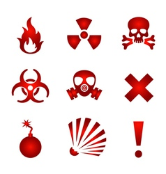 Red warning icons vector