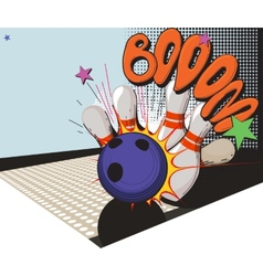 Retro styled bowling game picture vector