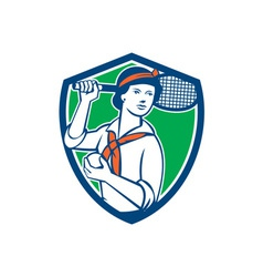Female tennis player racquet vintage shield retro vector