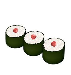 Tuna sushi roll or tuna maki isolated on white vector