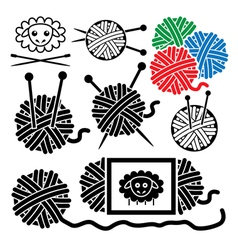 Icons of yarn balls vector