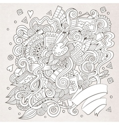 Sketchy doodles hand drawn art and craft vector
