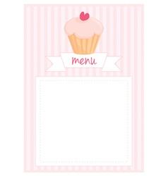 Restaurant menu pink strips retro card vector