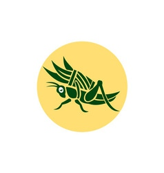 Grasshopper carrying basket grass blade retro vector