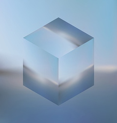 Abstract isometric cube on blurred sea background vector