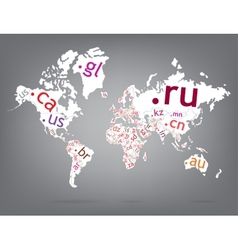 Map of the world top-level domain vector