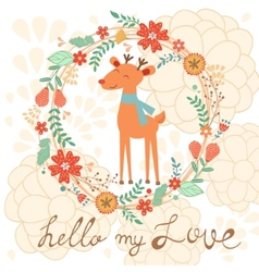Hello my love cute card with deer vector