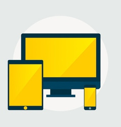 Electronic devices desktop computer tablet and vector