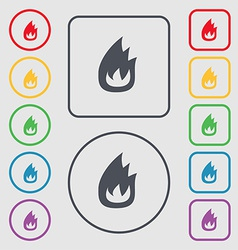 Fire flame icon sign symbol on the round and vector