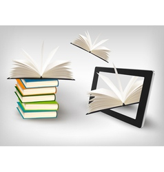 Books flying in a tablet vector