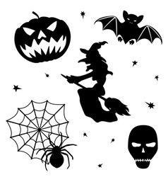 Halloween silhouette set on white background vector