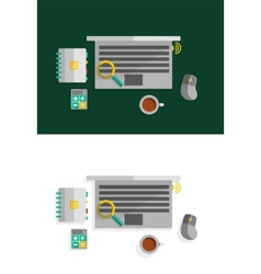 Office desktop flat design concept vector