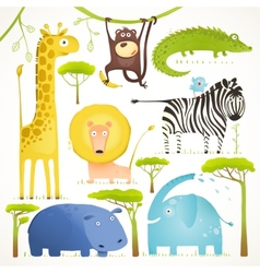 African animals fun cartoon clip art collection vector