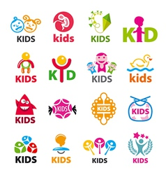Large collection of logos children vector